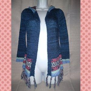 PINK REPUBLIC blue hoodie cardigan with fringe